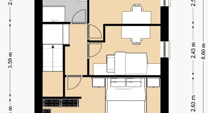 1 - 8.6 x 6.6 piano primo 2D con misure